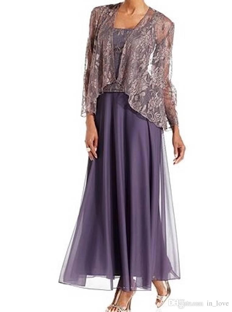 Ayak bileği Uzunluk Lavanta Ceket ile Gelin Elbise anne Dantel Şifon Kare Boyun Zarif Düğün Konuk Elbise Özel Durum