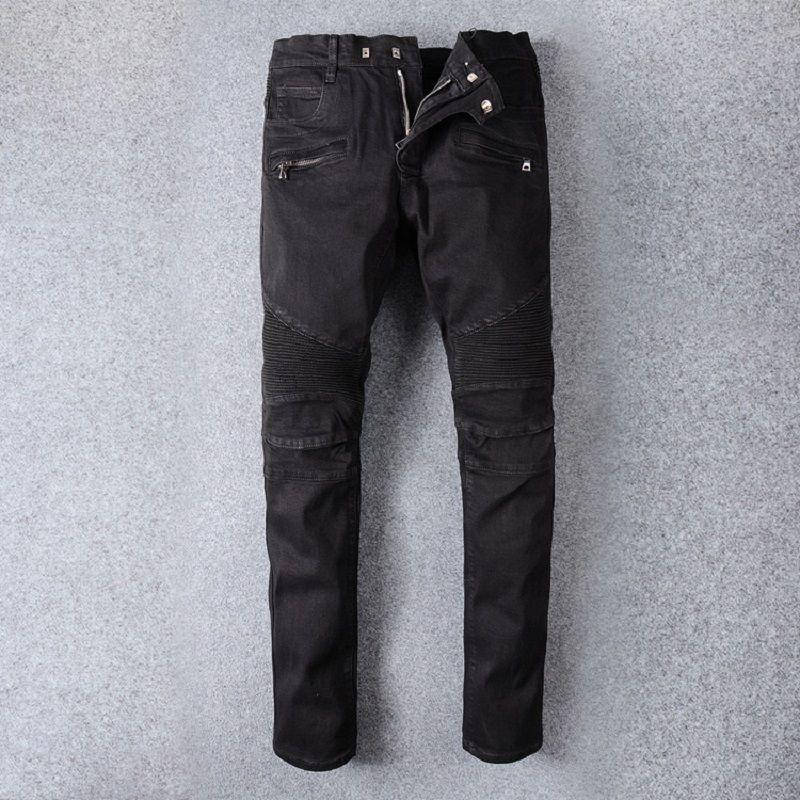 Pantalones de los hombres de la motocicleta de la mezclilla delgada vaqueros masculinos de algodón pantalones pantalones de los hombres suave de alta calidad pantalones Micro elasticidad transpirable