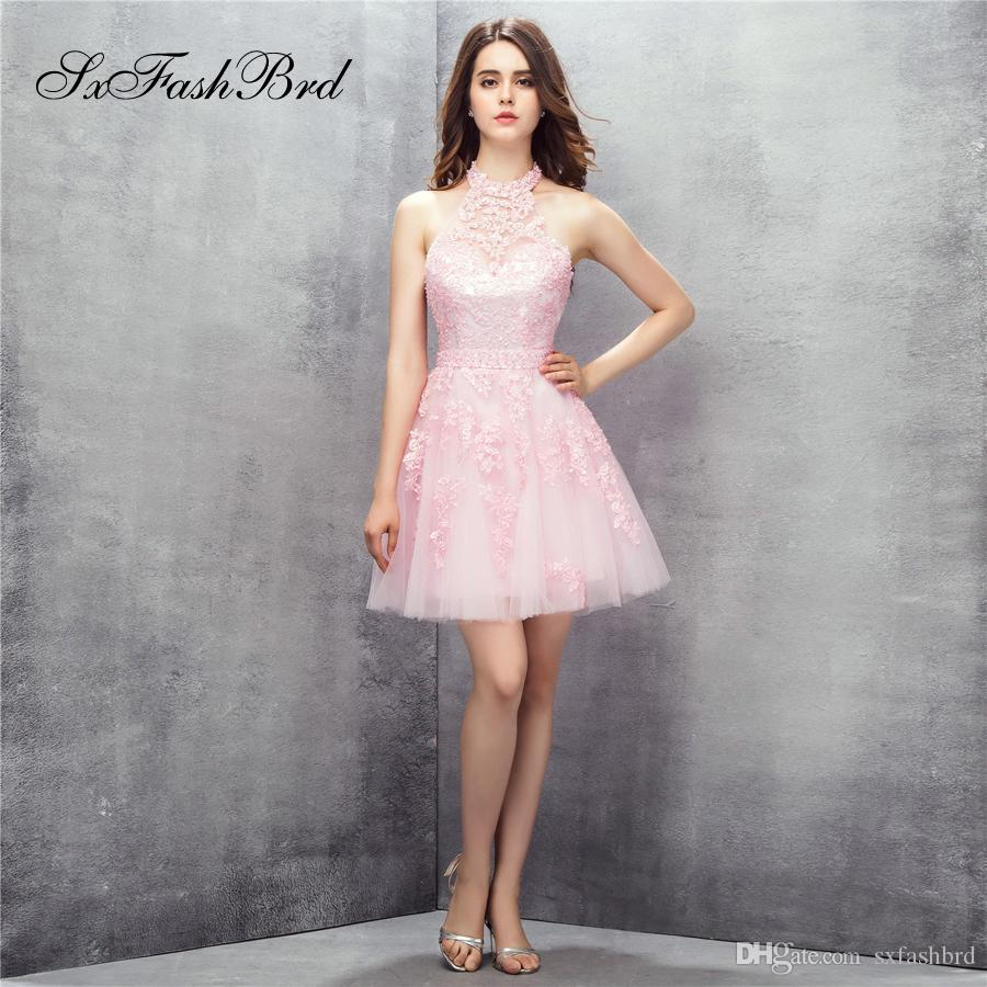 Cabestro elegante con apliques Abrir una línea Mini fiesta de tul rosa corto Vestidos de noche formales para mujeres Vestidos de baile