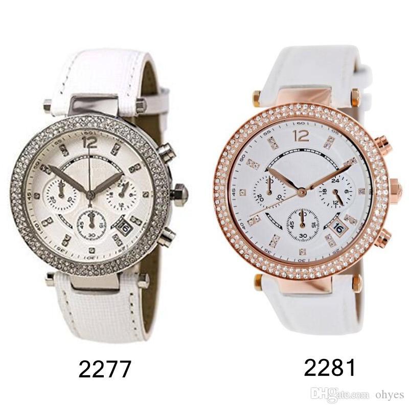Роскошные модные новые уникальные женские кожаные ремешки кварцевые часы новые 2277 2281