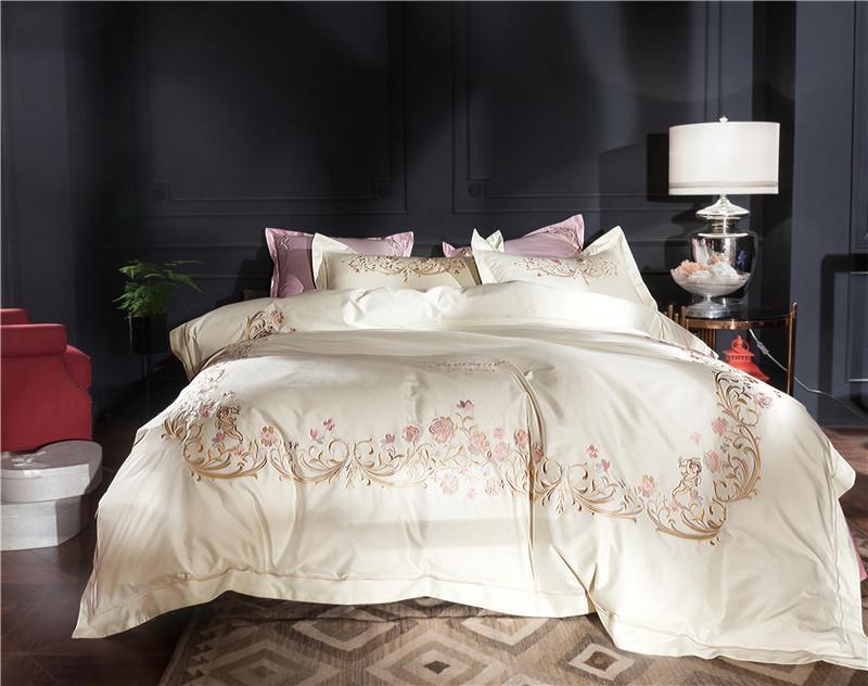 European  Pink Flower Embroidery 100S Egyptian Cotton White Bedding Set Duvet Cover Bed sheet Bed Linen Pillowcases 4/6pcs
