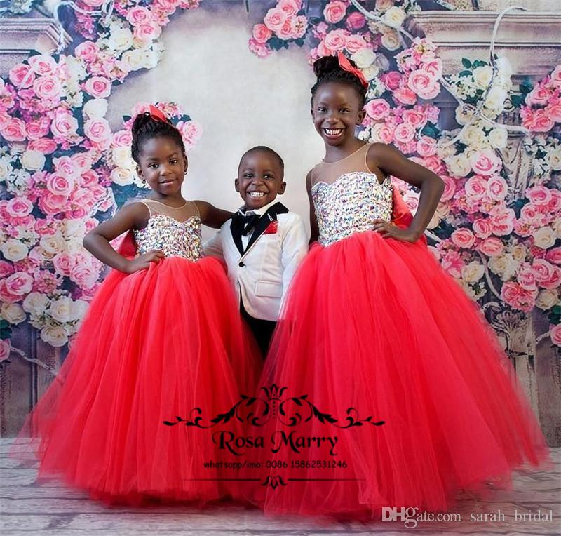Luxury Crystals African Girls Pageant Dresses 2019 Ball Gown Red Tulle Knot Bow Christmas Toddler Infant Little Girls Pageant Gown Size 10