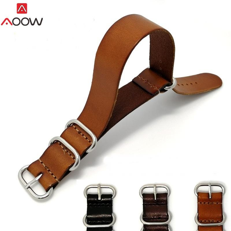 AOOW ZULU Leather Watchband NATO Watch Band Strap 18mm 20mm 22mm for Men Women Watch Accessories Sliver Ring Buckle Replacement