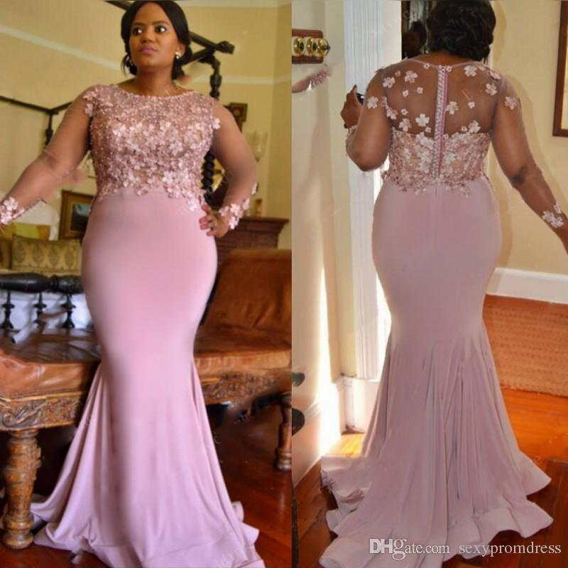 Lilac Color Plus Size Bridesmaid Dresses For Wedding Appliques Beads Sheer  Long Sleeves Mermaid Maid Of Honor Gowns Long Prom Party Dress Watters And  ...