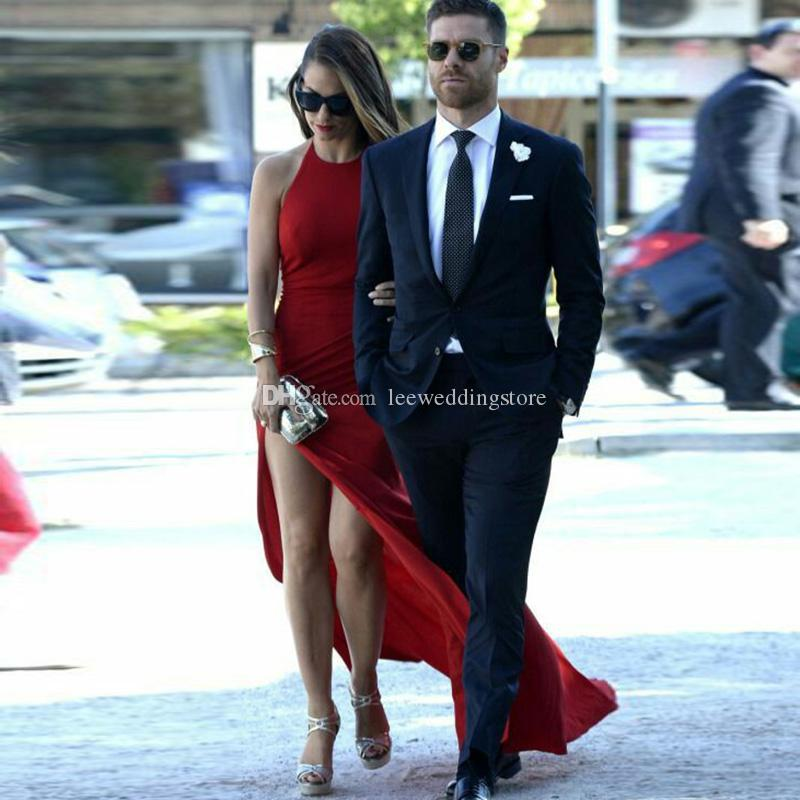 2018 Custom Made Navy Blue Notched Lapel Men suits Blazer Slim Fit Formal Wedding Suits Groom Wear Prom Tailored Tuxedo 2Pieces Jacket+Pants