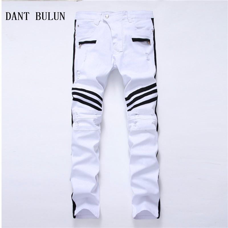 Nouveau Hommes Jeans Ripped à rayures blanches droites Biker Skinny Trou Casual Denim Pantalon Plus Pantalon taille, 0103
