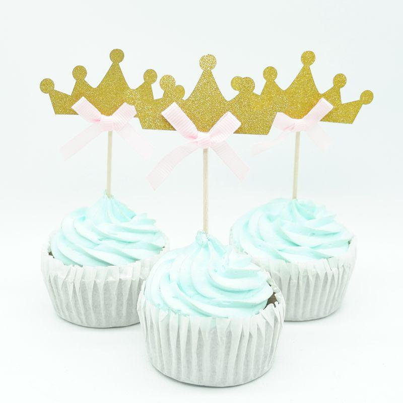 10pcs / lot Oro Princess Crown Cupcake Topper Tema Cartoon Party Supplies Bambini Boy Birthday Party Decorations