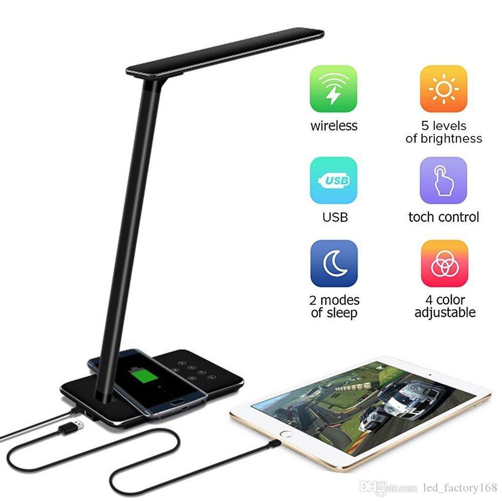 Ци Беспроводное зарядное устройство Настольные лампы Pad LED Настольная лампа для Qi-совместимого устройства Диммируемый Складной Тумбочка лампы Режимы 4 Освещение 5 уровня диммер