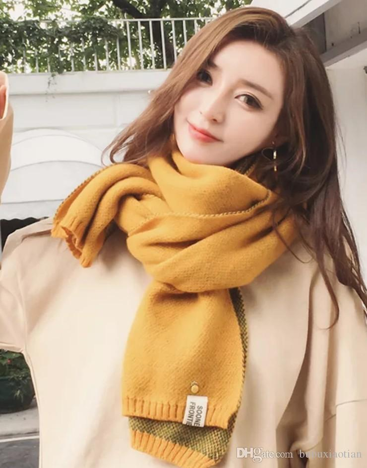 Pineapple Scarf Women Winter Korean Version Of The Students Double-sided Thick Japanese Department Small Fresh Long Knitting Wool Neck