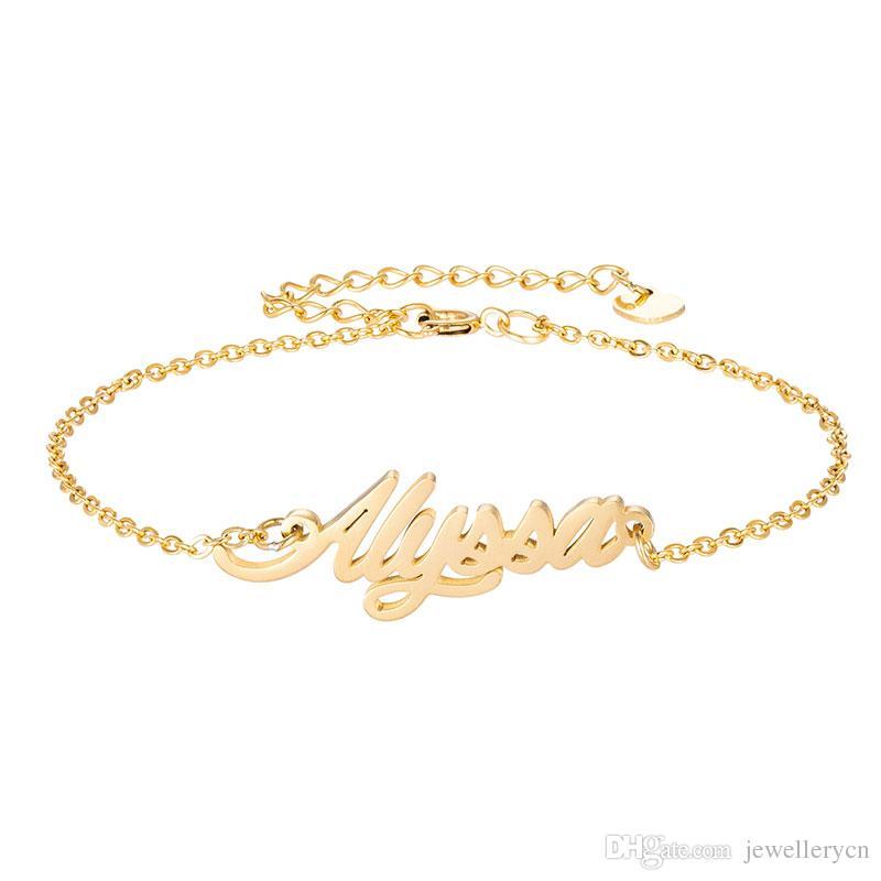 """Edelstahl Gravieren Skript Name """"Alyssa"""" Charm Armbänder für Frauen Personalisierte Benutzerdefinierte Armband Charm Link Weihnachtsgeschenk"""