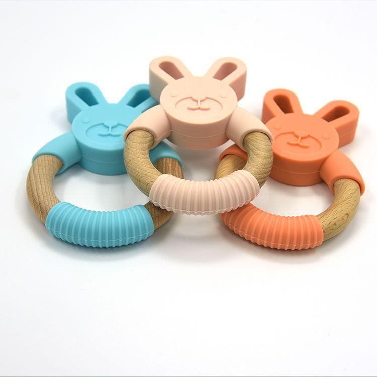 Conejito Silicona Mordedor y Madera Dentición Anillo Bebé Juguetes Masticables Anillo de Madera Orgánica Alimenticio Silicona Chupete Regalos Infantiles