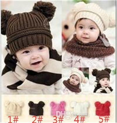 new 10 pcs baby cub baby double ball wool knit hat baby boy ladies handmade cap children's cotton hat M055