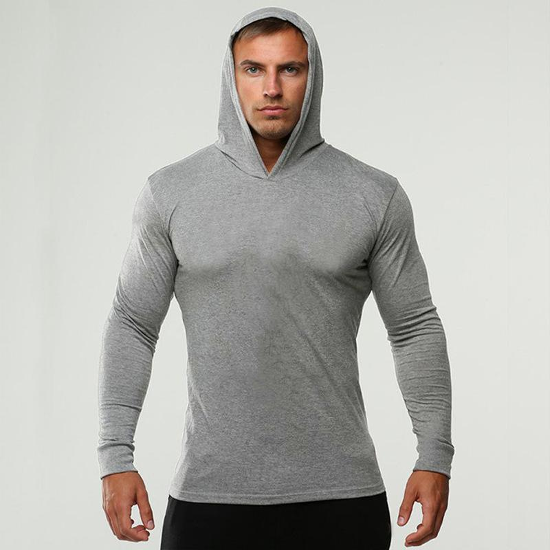 ab521907 2018 Men Long Sleeve Tshirt Cotton with Cap Solid Top Sportswear Skinny Tees  High Quality Big Plus Size Spring Style O Neck