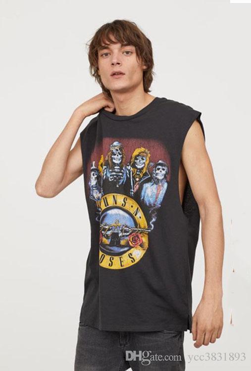 New men T shirt brand sleeveless cotton crew Neck tank top printed ROCK GUN ROESE Men Tees European and American style men clothing