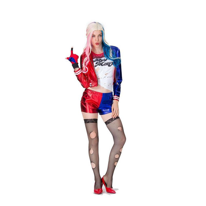 Women Harley Quinn Suicide Squad Carnival Cosplay Costume T-Shirt Jacket Sets