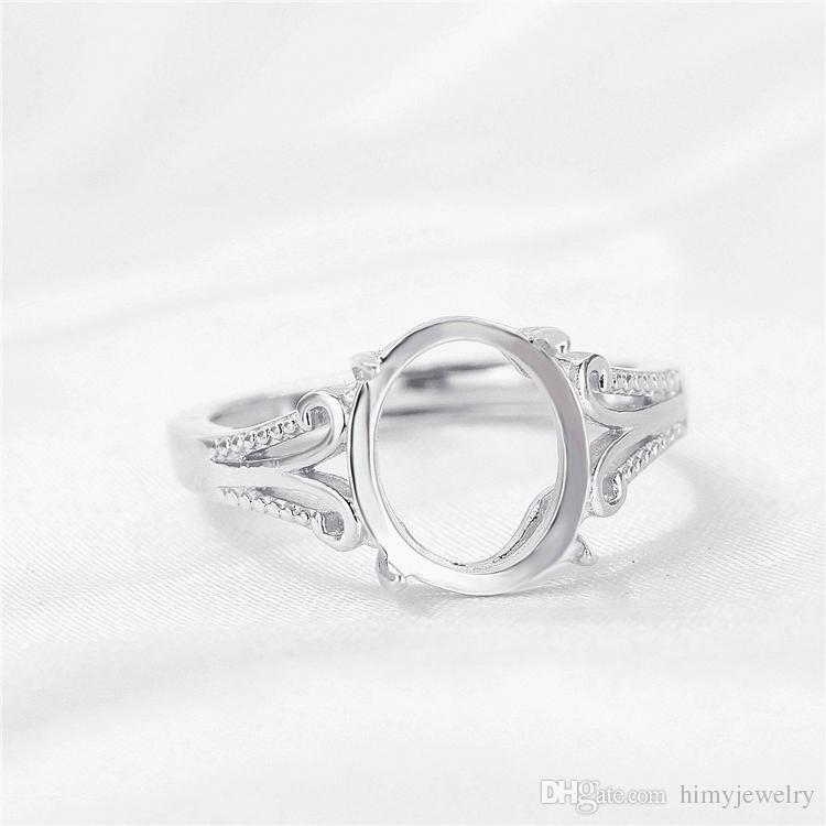 Серебро 925 стерлингового серебра обручальное кольцо обручальное кольцо полу крепление ювелирных изделий 9x11mm Овальный кабошон Янтарный установка белого золота цвет