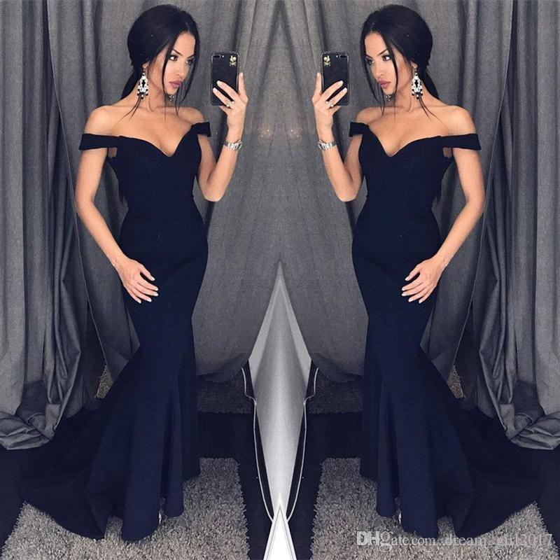 Темно-синий 2018 Русалка Пром платья с плеча простой длина пола формальные вечерние платья пользовательские дешевые платья для женщин
