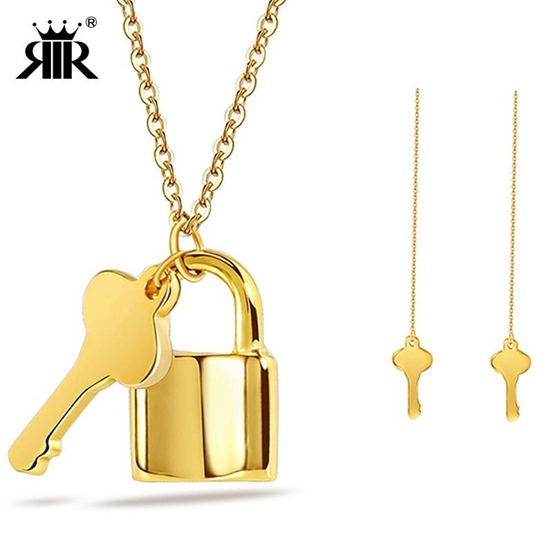 Padlock and Key Pendant Gold Plated Necklace with Crystals UK