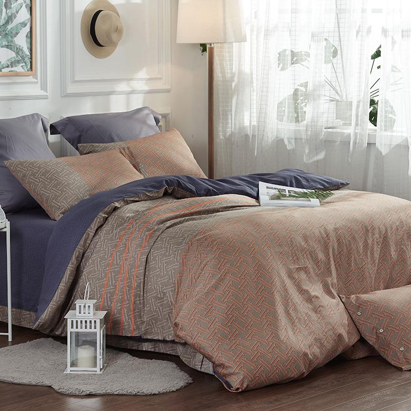 Modern Geometric Plain Bedding Set Queen King Size Luxury Cotton Printed Duvet Cover Bed Sheet Pillowcase