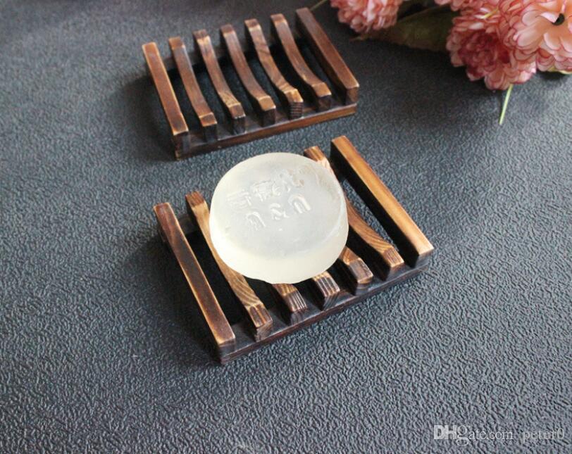 خمر نمط حمام الصابون صينية اليدوية الخشب صحن مربع أطباق الصابون الخشبية وحامل اكسسوارات للمنزل اكسسوارات الحمام 300PCS