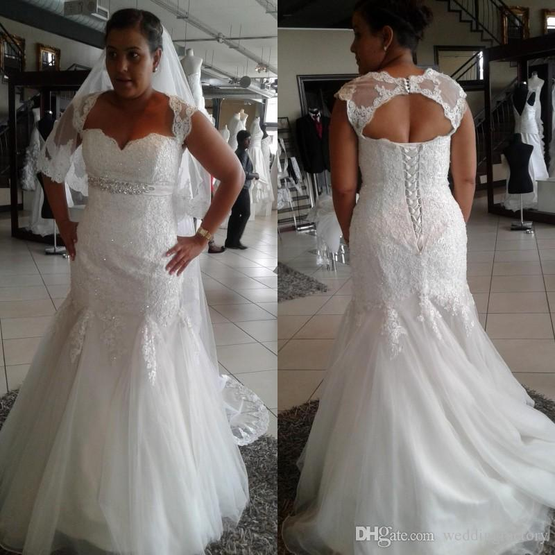 Plus Size Wedding Dresses Mermaid Bridal Gowns with Detachable Bolero Lace Appliques Empire Waist Crystals Beads Tulle Bride Dress