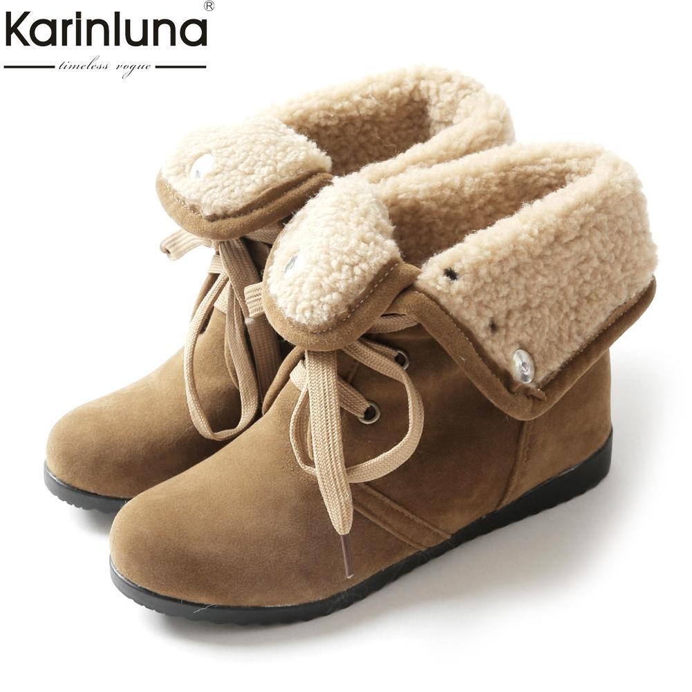 Großhandel 2018 große Größen 34-43 hinzufügen Plüsch Schnürschuhe Frauen Schuhe Frau warme Stiefeletten zunehmende Fersen Winter Schnee Stiefel weiblich