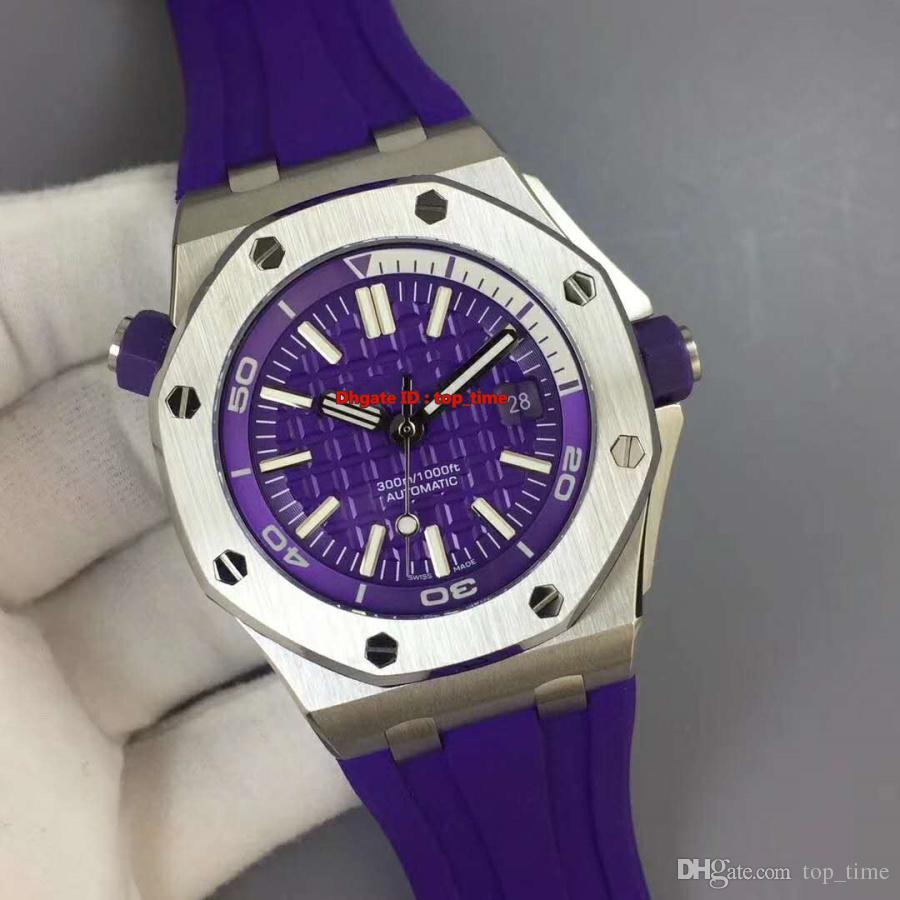 NUEVO Mejor reloj V7 Diver 42mm Cal.3120 Reloj automático para hombre 15710ST Caja de acero inoxidable 316L Púrpura Dial Púrpura Correa de caucho Relojes de caballero