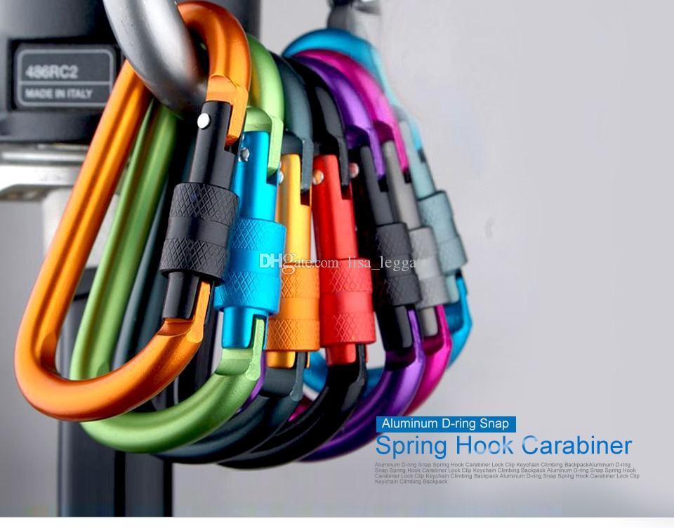 أعلى جودة الألومنيوم d-ring المفاجئة الربيع هوك حلقة حلاقة قفل كليب سلسلة المفاتيح تسلق الظهر 8CM مزيج اللون