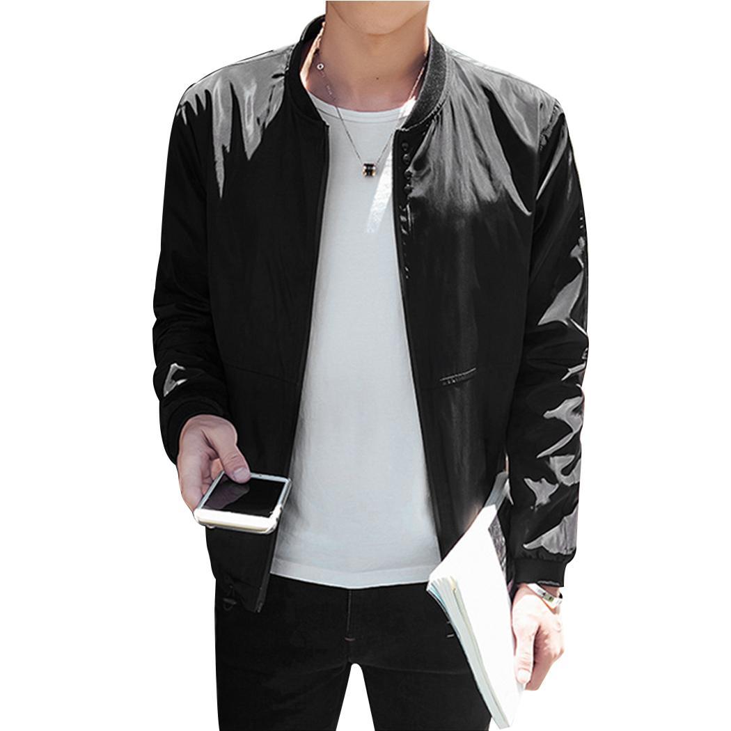 Мужская мода Slim Fit Плюс Размер Бейсбол Куртки 2018 Осень Зима Повседневная С Длинными Рукавами Сплошной Цвет Человек Куртка Пиджаки 4XL 5XL