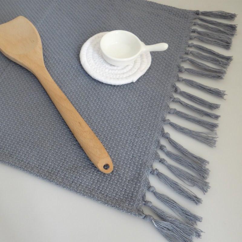 1 PCS Handmade Pure Cotton Tovagliolo Tovagliolo Tovaglioli Asciugamani alimentari con nappe Placemats Cucina Isolamento termico