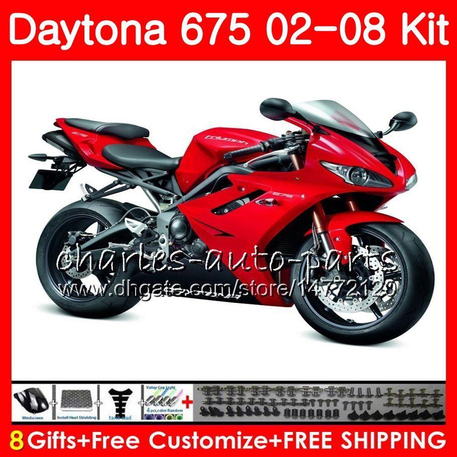 Кузов для Triumph Daytona 675 02 03 04 05 06 07 08 Daytona675 04HM.35 Daytona 675 Red black 2002 2003 2004 2005 2006 2007 2008 обтекатель комплект