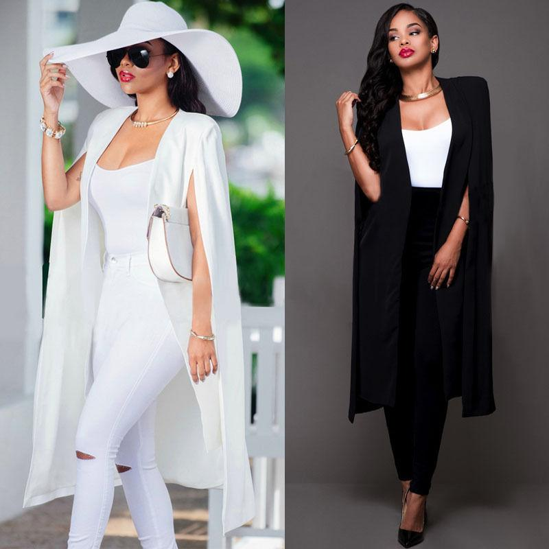 2016 Automne Blanc Noir Blazer Femmes Mode Slim long Cap Blazer Manteau Femme double boutonnage Veste de costume Manteau Outwear