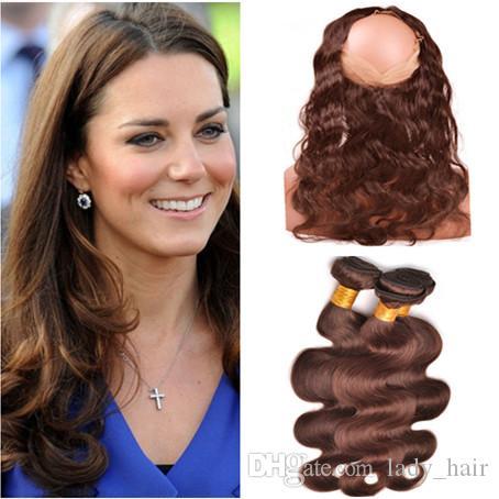 Malaysian Virgin Human Hair Body Wave Medium Brown 3Bundles with 360 Lace Frontal Closure 22.5x4x2 Chocolate Brown Virgin Hair Weaves
