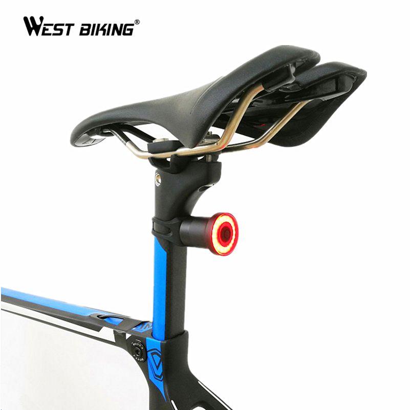 IMPERMEABILE Bicicletta LED USB ricaricabile Fanale posteriore SMART FRENO COB Luce Posteriore