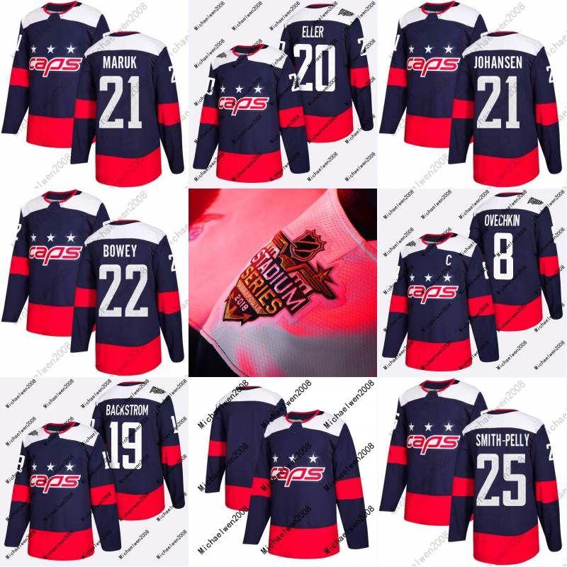 2018 Stadium Series Jersey 20 Lars Eller 21 Dennis Maruk 21 Lucas Johansen 22 Madison Bowey Washington Capitals Custom Hockey Jerseys