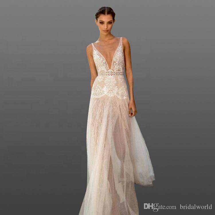 2018 сексуальный пляж свадебные платья окунуться высокий Сплит V шеи спинки линии кружева свадебные платья для дамы праздник одежда свадебные платья на заказ