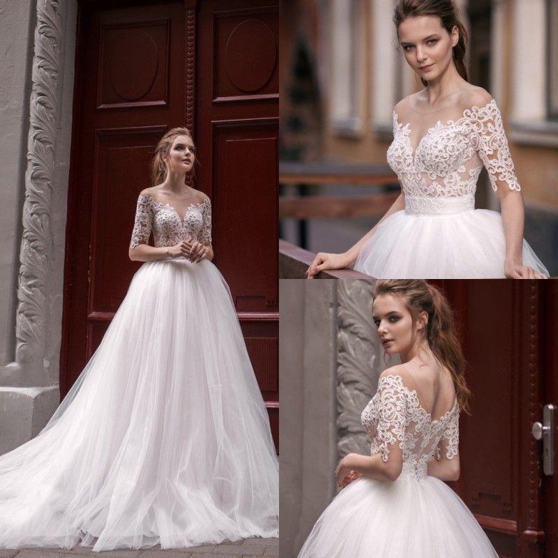 Milva кружевное бальное платье свадебное платье обнаженные сексуальные чистые шеи свадебные платья венчатые платья с рукавами