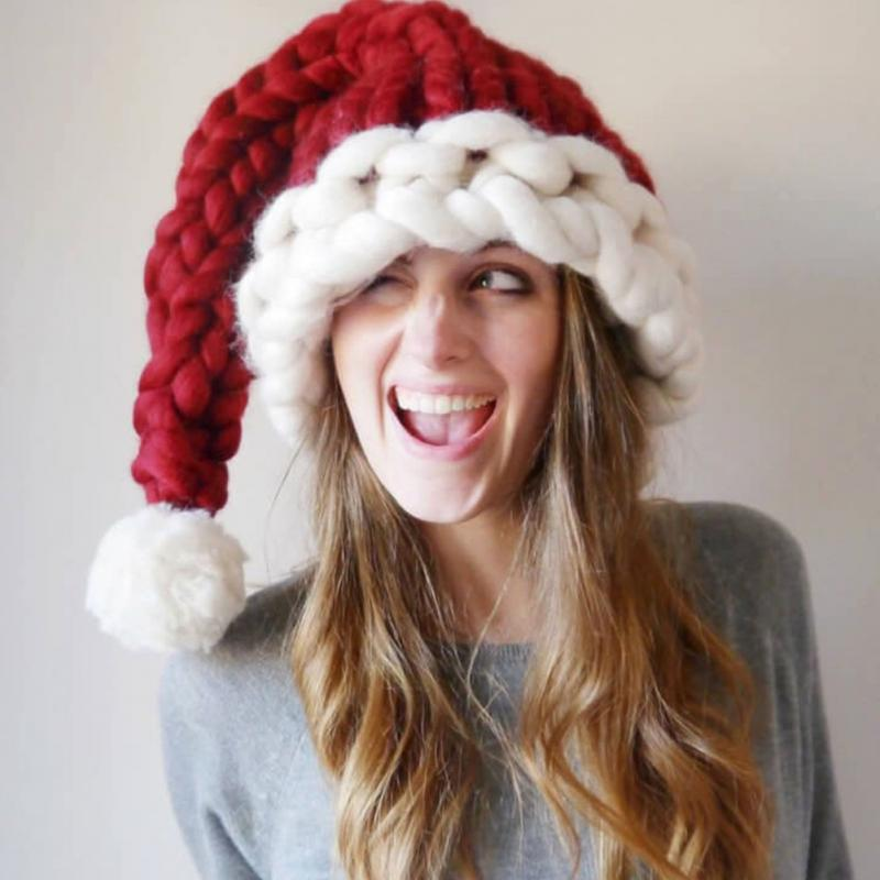Christmas Hat Santa Claus Hats Children Soft Woolen Knitting With Ball for Kids Adult Gifts