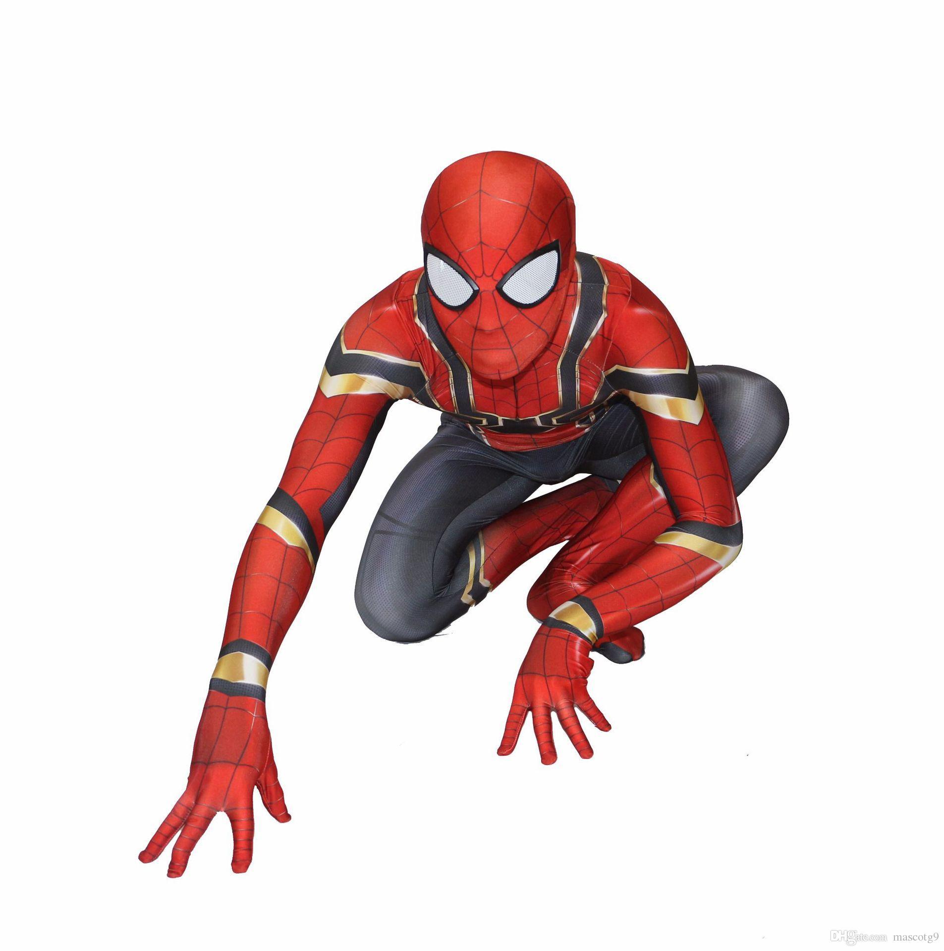 Hot Sale High Quality Mens adult Halloween Spiderman costume Lycra zentai SuperHero Theme Costume cosplay Full Body Suit
