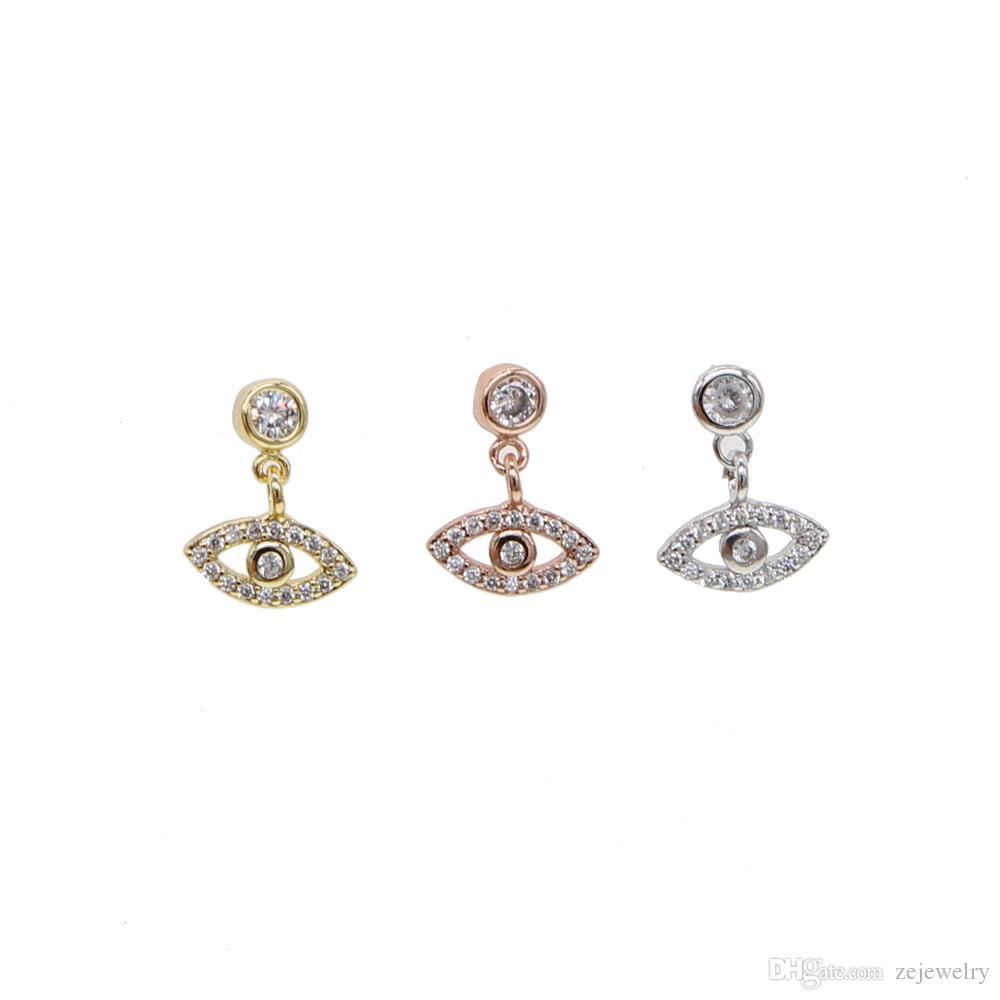 2018 золотой серебряный цвет ювелирные изделия повезло милый маленький глаз очарование турецкий сглаза проложили мини CZ штраф 925 стерлингового серебра мотаться серьги