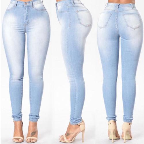 Femmes Jeans Pantalon Taille Haute Jeans Femmes Dames Crayon Stretch Casual Denim Skinny