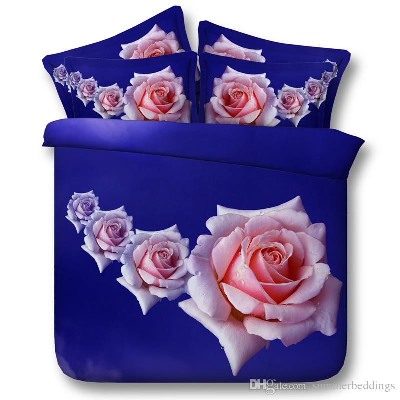 3D 4 pink flowers Duvet Cover bedding sets queen floral Bedspreads Holiday Quilt Covers Bed Linen blue Pillow Covers pillow shams
