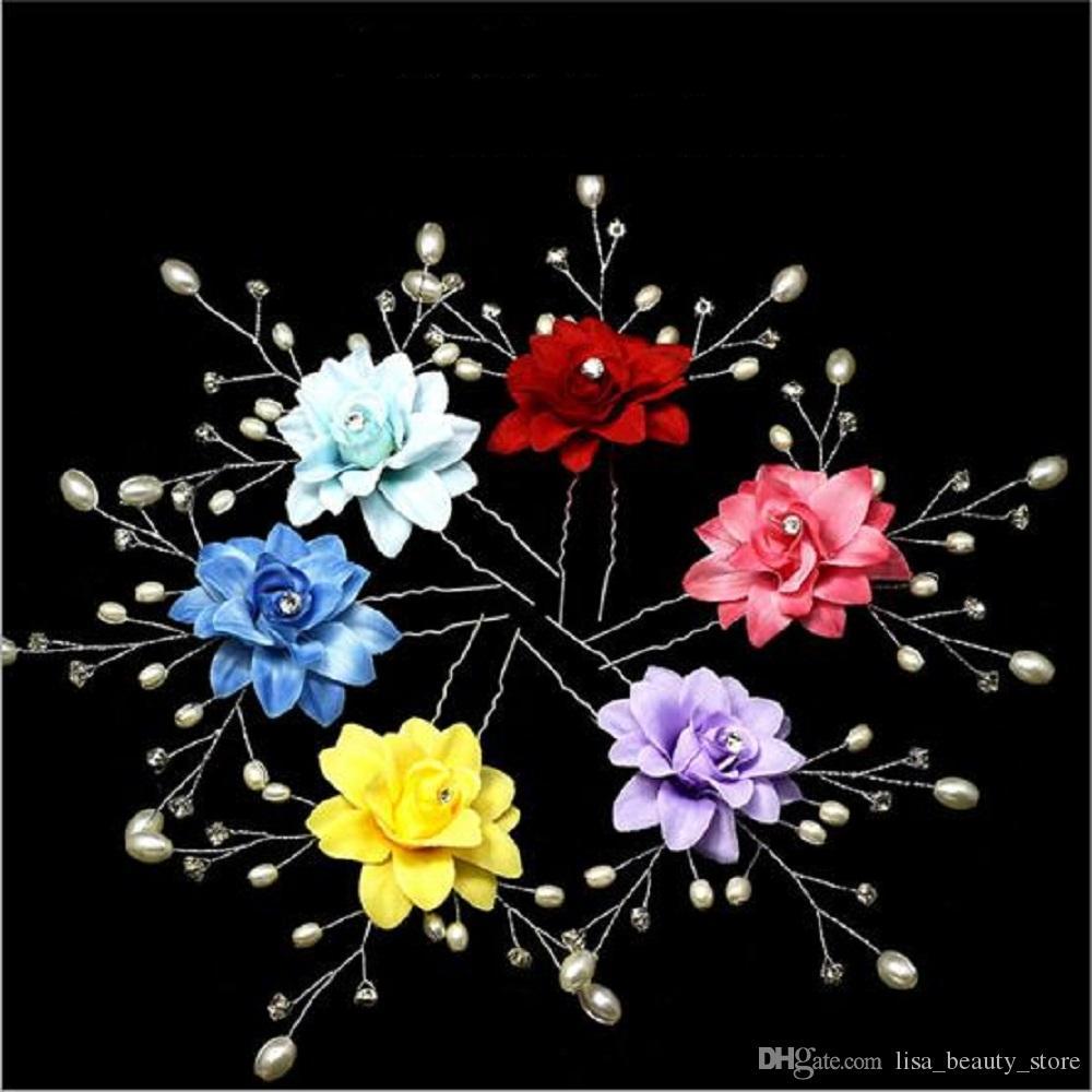 5pcs / lot femmes fleur bandeau cheveux ornements bijoux mariage imitation perle fleur épingle à cheveux pinces à cheveux de mariage accessoires de cheveux 5 pcs