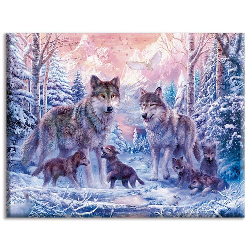 Bricolaje, Costura, kits, bordado completo, Decoración del hogar, 40x50cm, Familia feliz de lobos, Animales y bosques, Lona estampada, Dmc, Punto de cruz