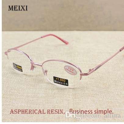 Kadın Yarım Alaşımlı Çerçeve Cam Lensler Okuma Gözlükleri Femal Gözlük + 1.0 1.5 2.0 2.5 3.0 3.5 4.0