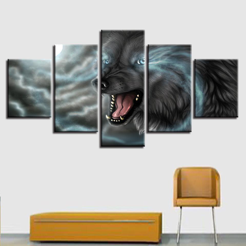 Animal Modern Framework Decor Stampe Home Living Room 5 Pezzi Wolf Blue Eyes Immagini Quadri in tela modulari Poster Wall Art