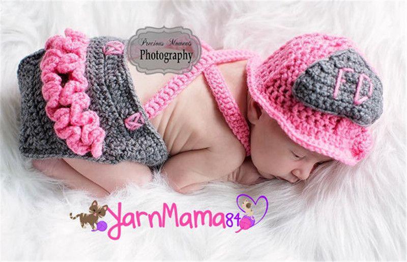 Crochet Pink Firefighter Baby Girl Hat Suspender Set recién nacido niñas bombero apoyos de fotografía infantil traje de halloween