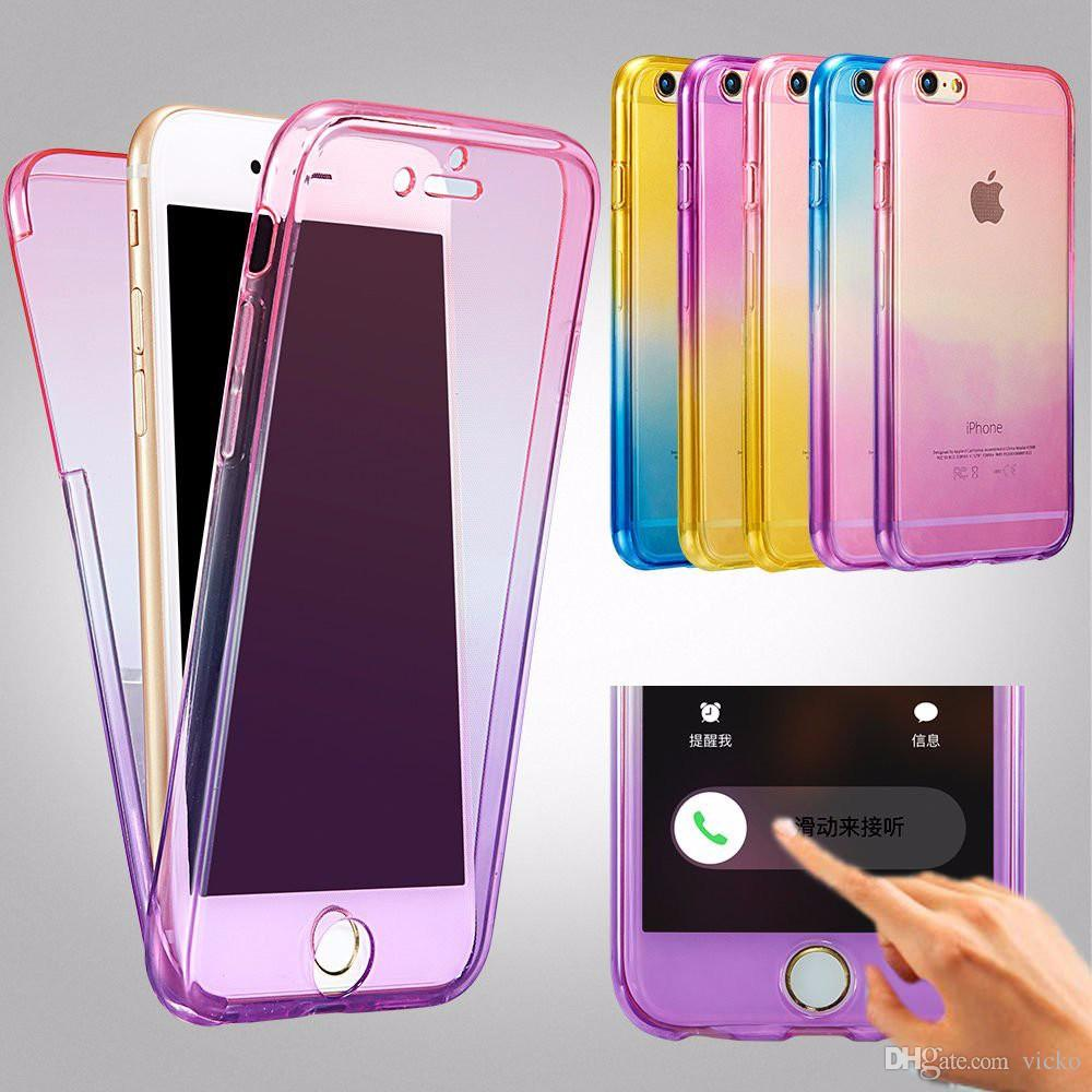 Rainbow 360 Degree Full Body Soft Case For iphone 7 SE 5 5s 6 6s 8 Plus Cover Silicone Rubber Screen Protector On Phone Cases