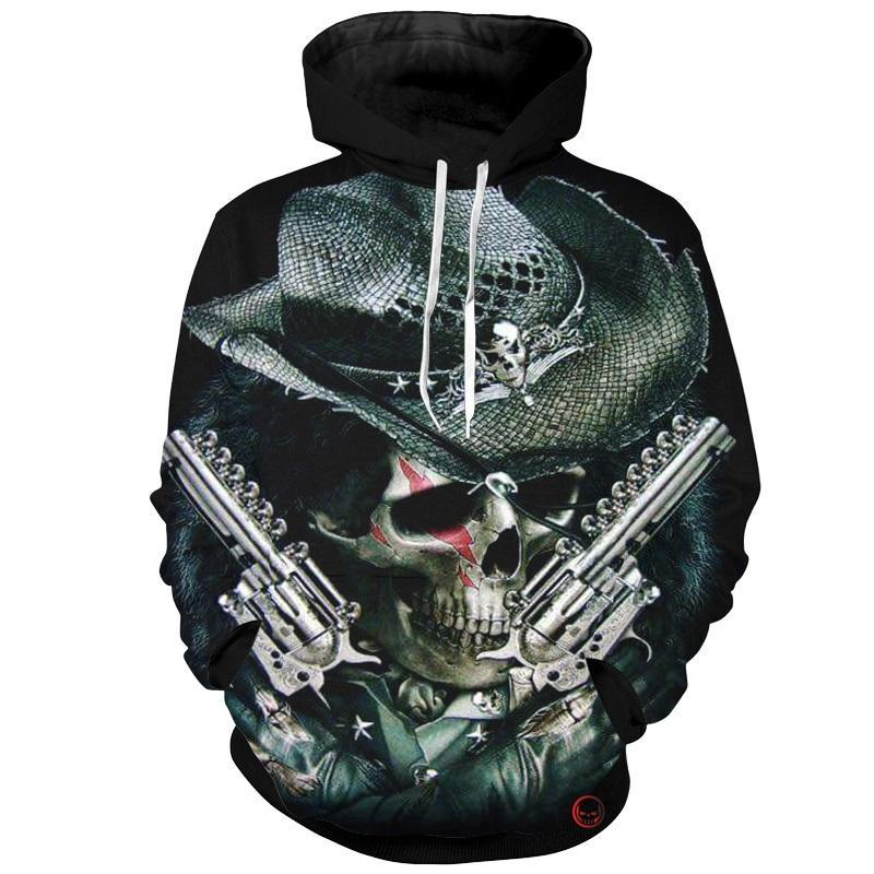 Cloudstyle Skull Cowboy 3D Hoodies Hombres Gun Skull 3D Imprimir Brand New Design Hoody Sweatshirt Fashion Top Pullovers Streetwear