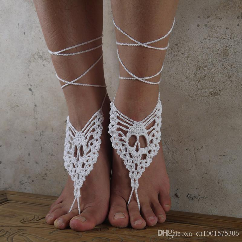 Sandalias descalzas del cráneo Sandalias descalzas del ganchillo de Hankmade, zapatos desnudos, joyería del pie, nupcial, cordón victoriano, atractivo, yoga, tobillera del esqueleto.